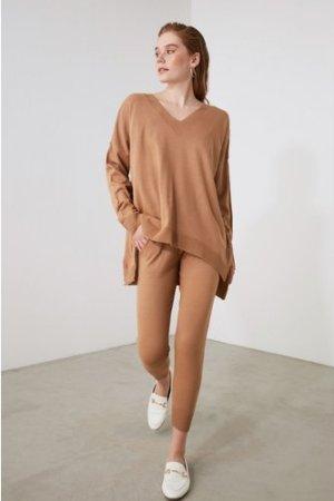 Trendyol Camel V Neck Lounge Co-ord size: M, colour: Camel