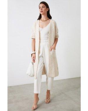 Trendyol Beige Light Knit Longline Open Cardiga size: M, colour: Beige