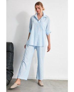 Trendyol Little Mistress x Trendyol Blue Shirt Pyjamas size: 12 UK, co