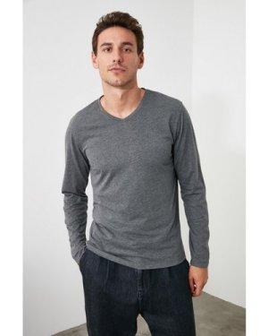 Trendyol Men's Dark Grey Long Sleeve Top size: L, colour: Anthrac