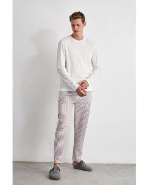 Trendyol Men's Stripe Leg Pyjamas size: L, colour: Burgundy