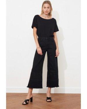 Trendyol Black Frayed Jeans size: 16 UK, colour: Black