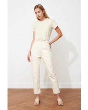 Trendyol Ecru Mom Jeans size: 12 UK, colour: Ecru