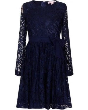 Little MisDress Navy Floral Lace Bow Dress size: 9-10 Yrs, colour: Nav