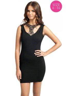 Black Embellished Collar Bodycon Dress size: 12 UK, colour: Black