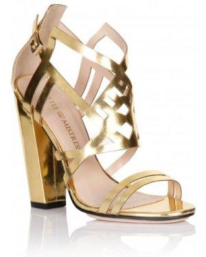 Little Mistress Footwear Gold Square Heel Strap Shoes size: Footwear 7