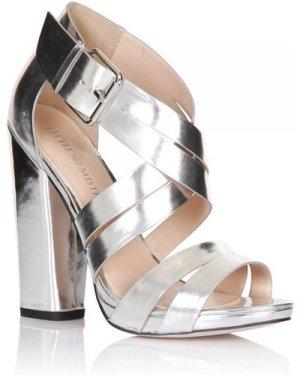 Little Mistress Footwear Silver Square Heel Strap Shoes size: Footwear