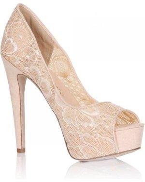 Little Mistress Footwear Nude Floral Lace Peep Toe Heels size: Footwea