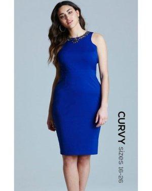Little Mistress Curvy Blue  Embellished Dress size: 22 UK, colour: Blu
