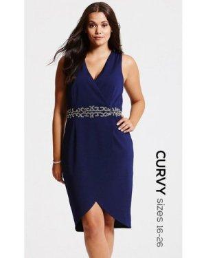 Little Mistress Curvy Navy Gathered Crossover Dress size: 22 UK, colou