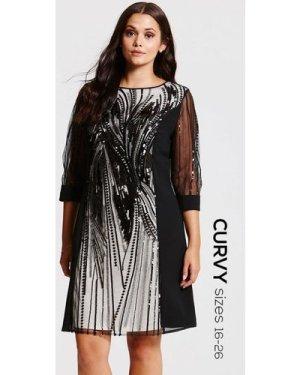 Little Mistress Curvy Black Heavily Embellished Panel Dress size: 16 U