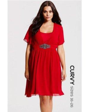 Little Mistress Curvy Red Embellished Chiffon Dress size: 20 UK, colou