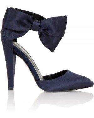 Little Mistress Footwear Fortuna Navy Satin Bow Heels size: Footwear 3