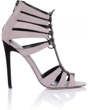 Little Mistress Footwear Athena Grey Cage Heeled Sandals size: Footwea