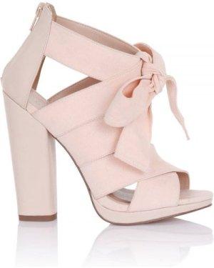 Little Mistress Footwear Nyx Nude Bow Heeled Sandals size: Footwear 8