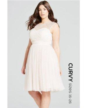 Little Mistress Curvy Nude Embellished Sheer Prom Dress size: 18 UK, c