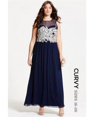Little Mistress Curvy Navy Embroidered Maxi Dress size: 16 UK, colour: