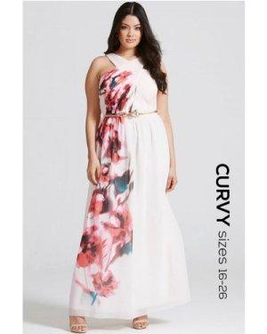 Little Mistress Curvy Blur Print Crossover Front Maxi dress size: 20 U