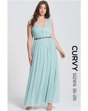 Little Mistress Curvy Sage Embellished Waist Maxi Dress size: 20 UK, c