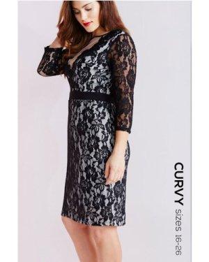 Little Mistress Curvy Black Lace Bodycon Dress size: 16 UK, colour: Bl