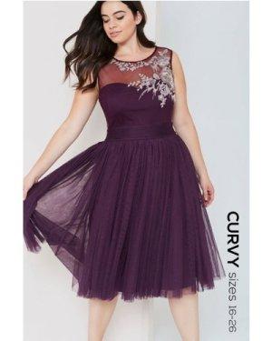 Little Mistress Curvy Purple Midi Dress With Embroidery Trim size: 26
