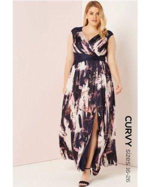 Little Mistress Curvy Multi Print Chiffon Maxi Dress size: 24 UK, colo