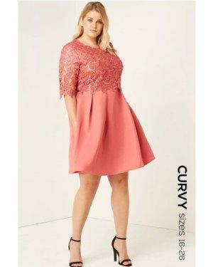 Little Mistress Curvy Terracotta Crochet Overlay Dress size: 26 UK, co