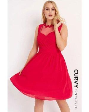 Little Mistress Curvy Cherry Applique Prom size: 18 UK, colour: Pink