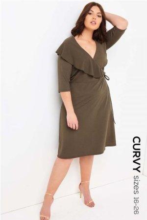 Girls On Film Curvy Khaki Midi Dress  size: 20 UK, colour: Khaki