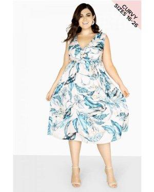 Little Mistress Curvy Cowl Neck Dress size: 22 UK, colour: Print