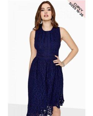 Little Mistress Curvy Navy Lace Midi Dress size: 20 UK, colour: Navy
