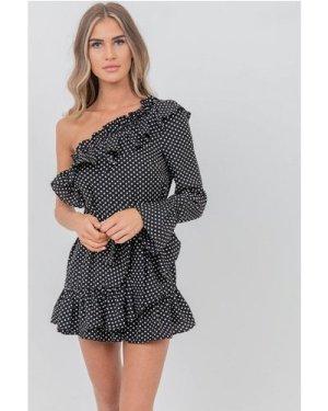 Black and White Ruffle Mini Dress size: 12 UK, colour: Black / White