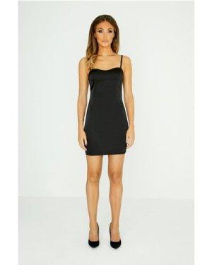 Studio Mouthy Black Cami Satin Bodycon Dress size: 8 UK, colour: Black