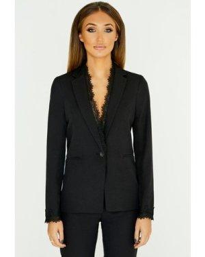 Studio Mouthy Black Lace Trim Blazer  size: 16 UK, colour: Black