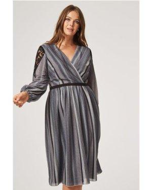 Little Mistress Curvy Kylie Metal Stripe Skater Dress size: 12 UK, col