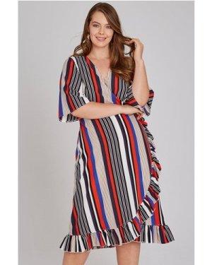 Girls On Film Curvy Cassis Frill Hem Wrap Dress In Stripe size: 24 UK,