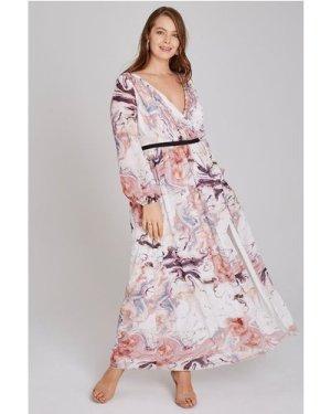Little Mistress Curvy Lea Mock Wrap Maxi Dress In Marble size: 24 UK,