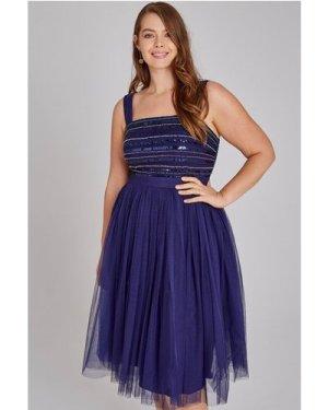 Little Mistress Curvy Drew Navy Hand-Embellished Prom Dress size: 28 U