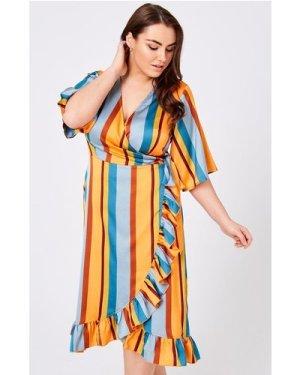Girls On Film Curvy Cassis Stripe Wrap Midi Dress size: 24 UK, colour: