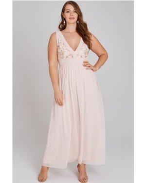 Little Mistress Curvy Cosette Nude Embroidery Maxi Dress size: 14 UK,