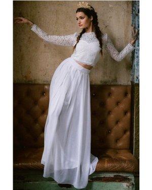 Rock n Roll Bride Athena White Maxi Skirt Co-ord size: 20 UK, colour: