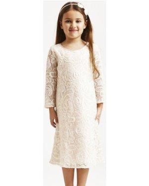 Little MisDress Pink Heavily Embellished Lace Party Dress size: 11-12