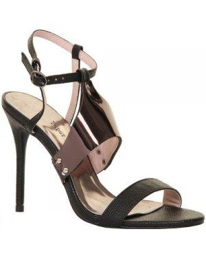 Paper Dolls Footwear Black Metallic Bar Sling Back Stiletto Heel size: