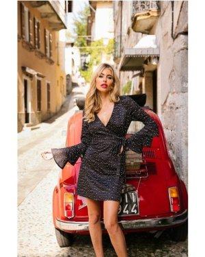 Little Mistress x Amy Neville Star-Print Flare Sleeve Shift Dress size