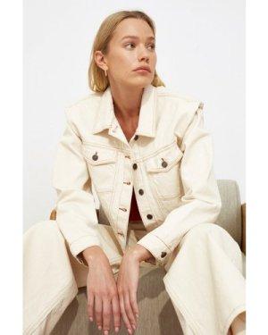 Trendyol Ecru Denim Jacket size: L, colour: Ecru