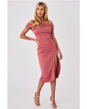Little Mistress x Amy Neville Rose Pink Bardot Midi Dress size: 14 UK,