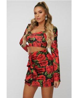 Little Mistress x Zara McDermott Red Rose-Print Puff Sleeve Crop Top C
