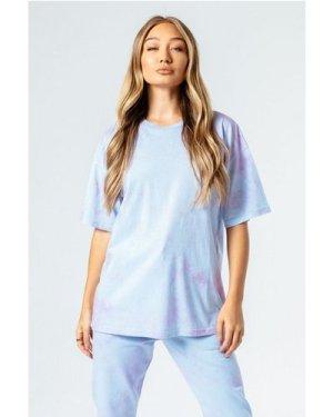 HYPE BLUE & PINK TIE DYE WOMEN'S OVERSIZED T-SHIRT size: 16 U