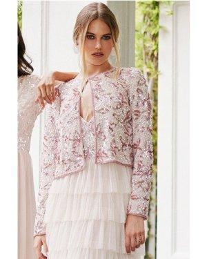 Little Mistress Fleur Pink Floral Sequin Jacket size: 16 UK, colour: P