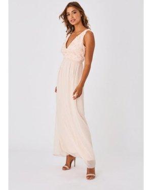 Little Mistress Mariska Bridesmaid Nude Floral Applique Maxi Dress siz